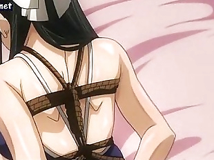 Lascive anime babe gets roped up and touched - 5..