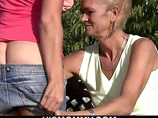 Old mom is licking and toying his GF's pussy - 6..