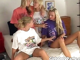 Four blondes in kinky lesbian action