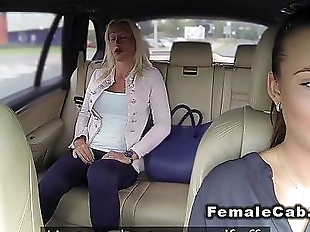 Married blonde has lesbians sex in fake taxiHD