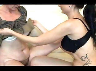 Granny playing with young girl and her tight pussy