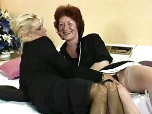 Granny fucks her lesbian friends pussy with..