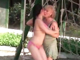 old and young lesbians are having fun