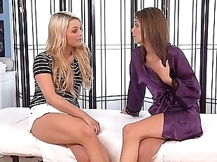 Blindfolded Blonde Dildo Fuck and Lesbian Massage