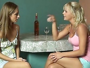 Blonde and Brunette lesbians have sex