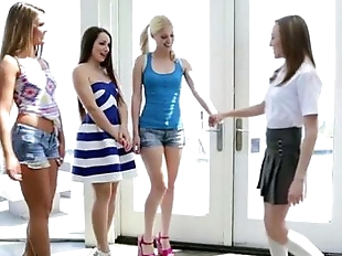 Four horny delightful hot lesbians turns on..