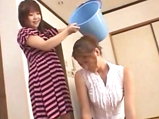 Asian teen slaps around her mother - foot..