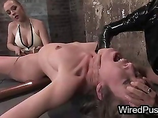 Bdsm brunette babe waxed and tortured with..
