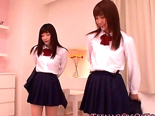 Cute asian schoolgirls lesbo fun at sleepover -..
